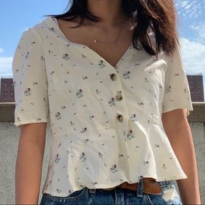 urban outfitters floral peasant blouse